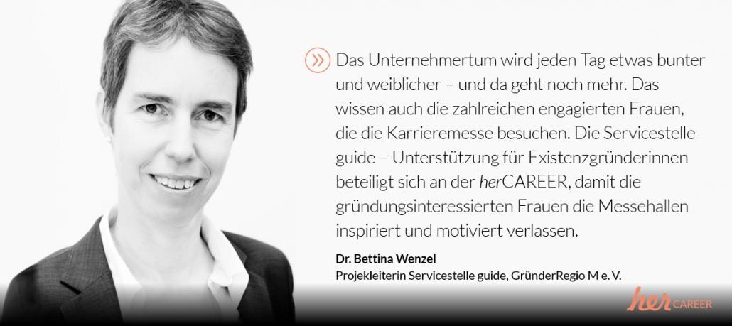 guide auf der herCARRER München, Statement Dr. Bettina Wenzel
